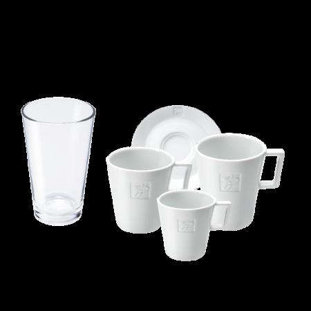 Tchibo porcelán a sklenice